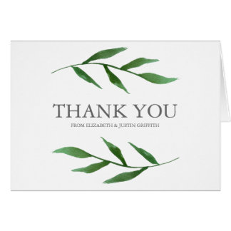 Lush Leaves Elegant Watercolor Wedding Thank You Card