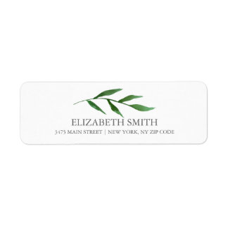 Lush Leaves Elegant Watercolor White Return Address Label