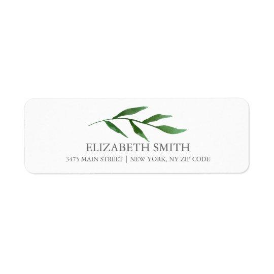 Lush Leaves Elegant Watercolor White Return Address Label