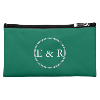 Lush Meadow Green with White Wedding Detail Cosmetic Bag