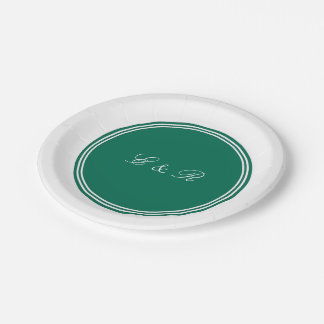 Lush Meadow Green with White Wedding Detail Paper Plate
