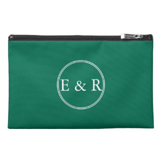 Lush Meadow Green with White Wedding Detail Travel Accessory Bags