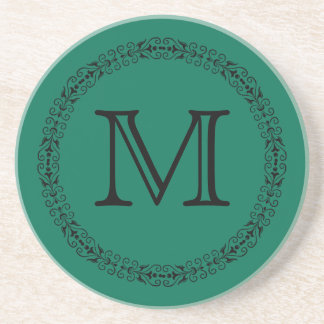 Lush Meadow Rich Green Modern Solid Color Monogram Drink Coaster