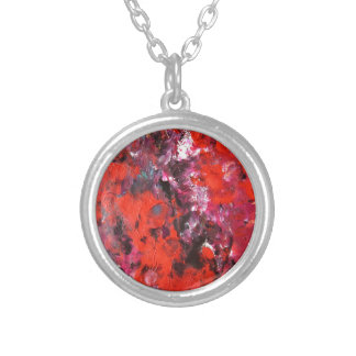 Lush modern red abstract flower field painting necklace
