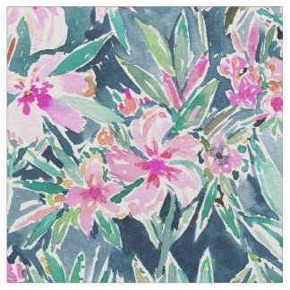 LUSH OLEANDER Tropical Watercolor Floral Fabric