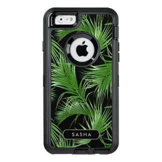 Lush Palm Frond Pattern with Name or Monogram OtterBox Defender iPhone Case