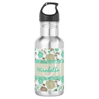 Lush pastel mint green, beige roses on white name 532 ml water bottle