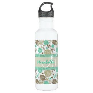 Lush pastel mint green, beige roses on white name 710 ml water bottle