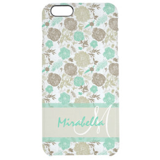 Lush pastel mint green, beige roses on white name clear iPhone 6 plus case