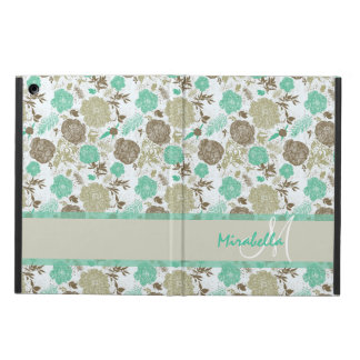 Lush pastel mint green, beige roses on white name cover for iPad air