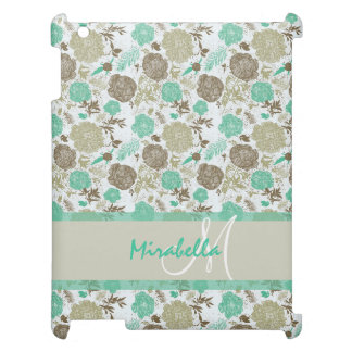 Lush pastel mint green, beige roses on white name cover for the iPad 2 3 4