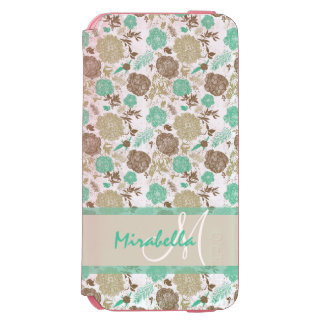 Lush pastel mint green, beige roses on white name incipio watson™ iPhone 6 wallet case