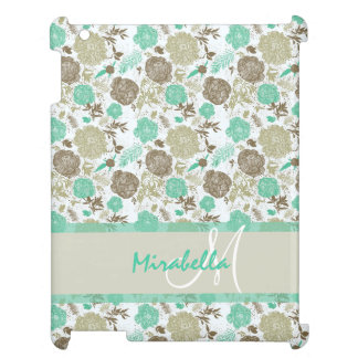 Lush pastel mint green, beige roses on white name iPad cover