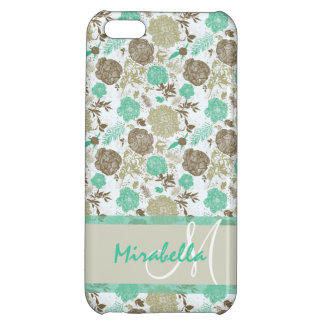 Lush pastel mint green, beige roses on white name iPhone 5C covers