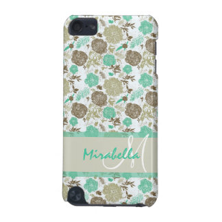 Lush pastel mint green, beige roses on white name iPod touch (5th generation) cover