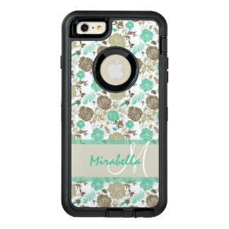 Lush pastel mint green, beige roses on white name OtterBox defender iPhone case