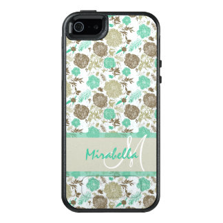 Lush pastel mint green, beige roses on white name OtterBox iPhone 5/5s/SE case