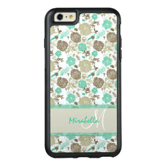 Lush pastel mint green, beige roses on white name OtterBox iPhone 6/6s plus case