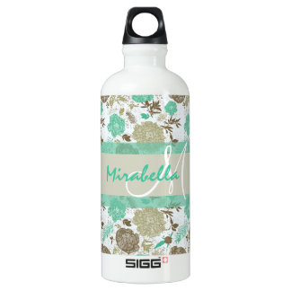 Lush pastel mint green, beige roses on white name water bottle