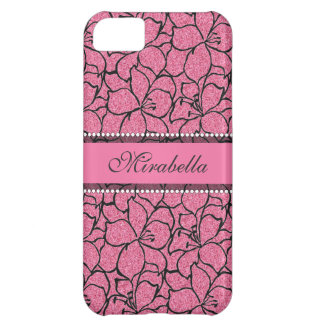 Lush Pink Lilies with black outline, pink glitter iPhone 5C Case