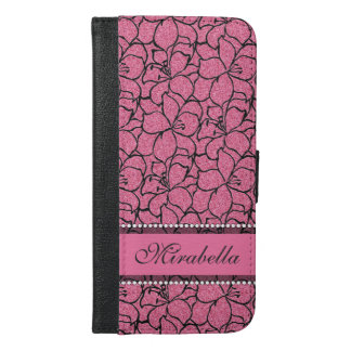 Lush Pink Lilies with black outline, pink glitter iPhone 6/6s Plus Wallet Case