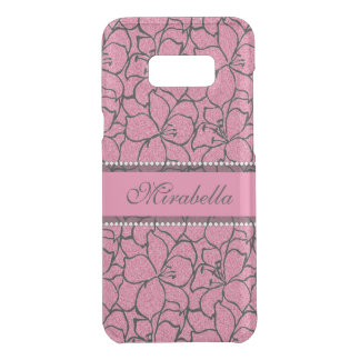 Lush Pink Lilies with black outline, pink glitter Uncommon Samsung Galaxy S8 Plus Case