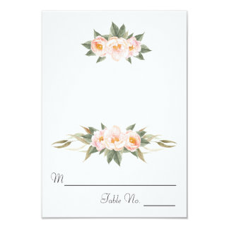 Lush Pink Peonies Floral Escort Card