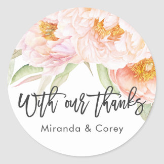 Lush Pink Peonies Floral Thank You Classic Round Sticker