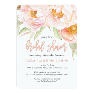 Lush Pink Peonies Watercolor Floral Bridal Shower Card