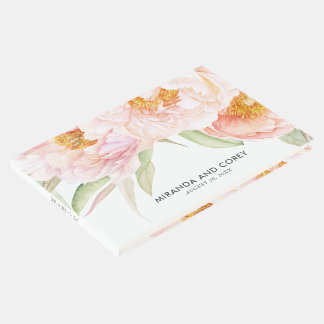 Lush Pink Peonies Watercolor Floral Guest Book