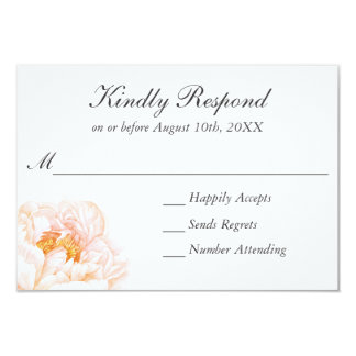 Lush Pink Peonies Watercolor Floral RSVP Card