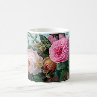 Lush Romantic Pink Roses Botanical Coffee Mug