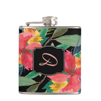 Lush Watercolor Floral Monogram Hip Flask