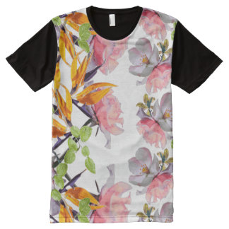 Lush Watercolor Florals by Zala02Creations All-Over Print T-Shirt