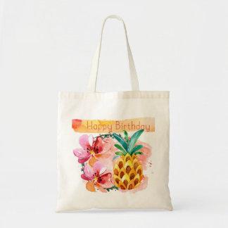 Lush Watercolor Tropical Happy Birthday Tote Bag