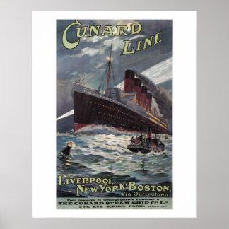 Lusitania - Vinatge Cunard Line steamship poster