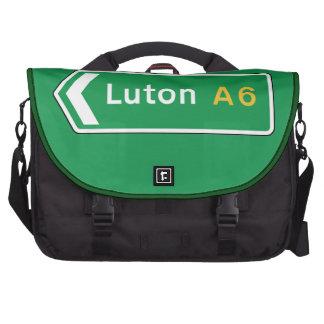 Luton, UK Road Sign Laptop Bags