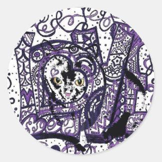 Luv Cat, custom cat design Round Sticker