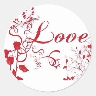 luv n roses round sticker
