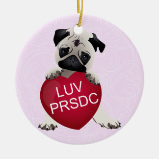 LUV PRSDC Pug Rescue of San Diego Co. Valentines Round Ceramic Decoration