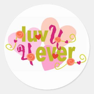 luv u 4ever classic round sticker