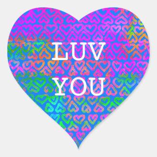 Luv You Hearts Pattern Heart Sticker