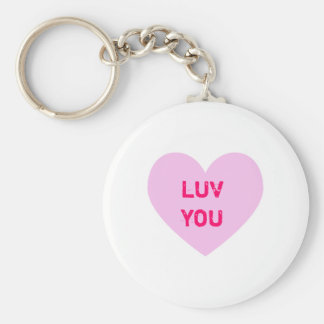 LUV YOU Pink Conversation Heart Key Ring