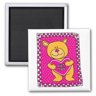 luv you teddy bear fridge magnet