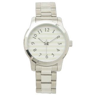 Lux_Cream_Stripes_Black-Numbers Watch