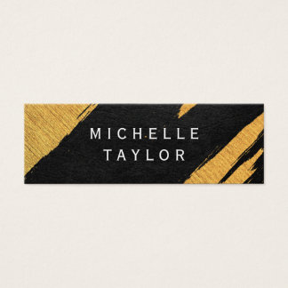 Lux Faux Gold Artistic Marks Leather Print Mini Business Card