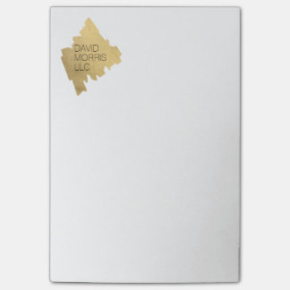 Luxe Abstract Gold Painted Designer Logo on White Post-it Notes
