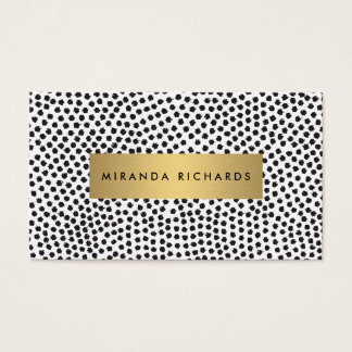 Luxe Black Confetti Dots with Gold Bar