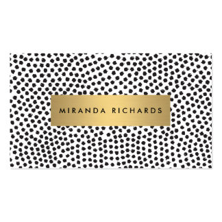 Luxe Black Confetti Dots with Gold Bar Pack Of Standard Business Cards