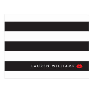 Luxe Black/White Stripes Red Lips Makeup Artist Postcard